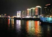 台湾贵宾乘长江三峡八号夜游船,畅游宜昌长江夜景,宜昌夜游靓丽景观醉游人