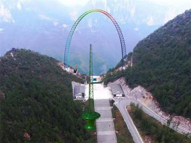 云阳龙缸景区建成世界最高的悬崖秋千,荡离悬崖最大距离70米